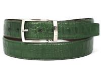PAUL PARKMAN Men's Crocodile Embossed Calfskin Leather Belt Hand-Painted Green (IDB02-GRN)