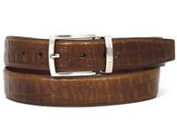 PAUL PARKMAN Men's Crocodile Embossed Calfskin Leather Belt Hand-Painted Olive (IDB02-OLV)