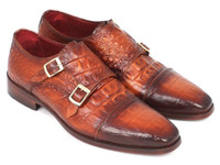 Paul Parkman Men's Double Monkstrap Brown Crocodile Embossed Calfskin (IDPP2280)