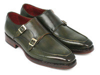 Paul Parkman Men's Double Monkstrap Goodyear Welted Shoes Green (ID061-GREEN)