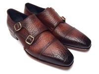 Paul Parkman Men's Double Monkstraps Brown Leather Upper & Leather Sole (IDBG12-BRW)