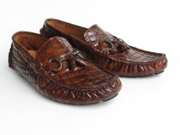 Paul Parkman Men's Driving Moccasin Brown Croco Embossed Calfskin Upper with Rubber Nubbed Sole (ID2055-BRW)