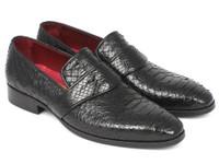Paul Parkman Men's Genuine Python Loafers Black (ID11BLK62)