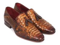 Paul Parkman Men's Genuine Python Tassel Loafers Camel (ID26CML75)