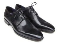 Paul Parkman Men's Ghillie Lacing Plain Toe Black Shoes (ID076-BLK)