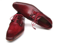 Paul Parkman Men's Ghillie Lacing Side Handsewn Dress Shoes Burgundy Leather Upper & Leather Sole (ID022-BUR)