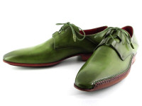 Paul Parkman Men's Ghillie Lacing Side Handsewn Dress Shoes Green Leather Upper & Leather Sole (ID022-GREEN)