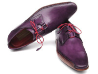 Paul Parkman Men's Ghillie Lacing Side Handsewn Dress Shoes Purple Leather Upper & Leather Sole (ID022-PURP)