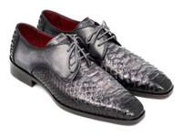 Paul Parkman Men's Gray & Black Genuine Python & Calfskin Derby Shoes (IDPT59GRY)