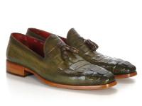 Paul Parkman Men's Green Crocodile Embossed Calfskin Tassel Loafer (IDPP2281-GREEN)