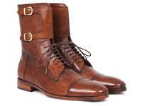 Paul Parkman Men's High Boots Brown Calfskin (IDF554-BRW)