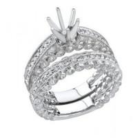 1.05 Ctw 18kw Diamond Engagement Ring Set