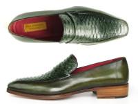 Paul Parkman Men's Loafer Green Genuine Python with Green Handpainted Calfskin (ID23K38)