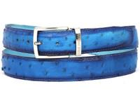 PAUL PARKMAN Men's Ocean Blue Genuine Ostrich Belt (IDB04-OCEAN)