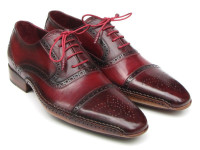 Paul Parkman Men's Side Handsewn Captoe Oxfords Red/Bordeaux Leather Upper & Leather Sole (ID5032-BRD)