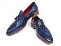Paul Parkman Men's Tassel Loafer Blue Hand Painted Leather (ID083-BLU)