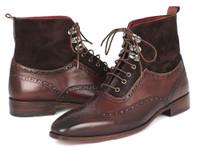 Paul Parkman Men's Wingtip Boots Brown Suede & Calfskin (ID991-BRW)