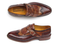 Paul Parkman Men's Wingtip Monkstrap Brogues Brown Hand-Painted Leather Upper With Double Leather Sole (ID060-BRW)