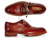 Paul Parkman Men's Wingtip Oxfords Bordeaux & Camel (ID027B)