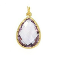 Herco 18k Yellow Gold Pink Amethyst Pendant