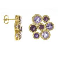 Herco 14k Yellow Gold Purple Gemstone Earrings