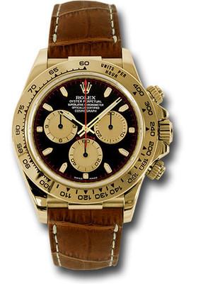 Rolex Watches: Daytona Yellow Gold - Leather Strap 116518 pnbks RW10217
