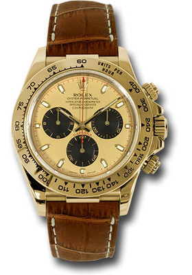 Rolex Watches: Daytona Yellow Gold - Leather Strap 116518 pnbr RW10218