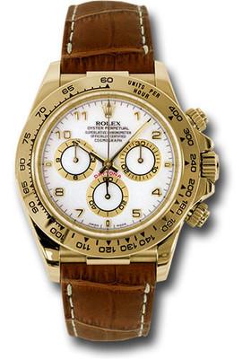 Rolex Watches: Daytona Yellow Gold - Leather Strap 116518 wabr RW10219