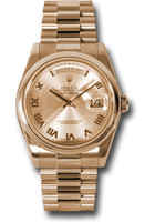 Rolex Watches: Day-Date President Pink Gold - Domed Bezel - President 118205 chrp