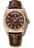 Rolex Watches: Day-Date President Pink Gold - Fluted Bezel - Leather 118135 chl