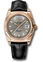 Rolex Watches: Day-Date President Pink Gold - Fluted Bezel - Leather 118135 rhl