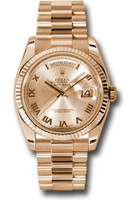Rolex Watches: Day-Date President Pink Gold - Fluted Bezel - President 118235 chrp