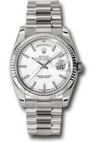 Rolex Watches: Day-Date President White Gold - Fluted Bezel - President 118239 wsp