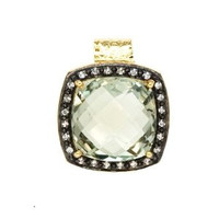 Herco 18k Yellow Gold Green Amethyst & Diamond Pendant