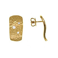 Herco 18k Yellow Gold Hammered Diamond Earrings