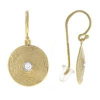 Herco 14k Yellow Gold Texture Plate Diamond Earrings