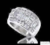Ziva Emerald Cut & Baguette Diamond Anniversary Ring