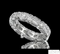 Ziva Antique Design Eternity Ring with Baguette & Round Diamonds