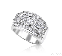 Ziva Three-Stone Diamond Anniversary Ring with Baguette & Round Diamonds