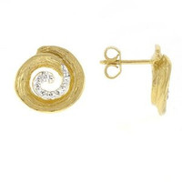 Herco 14k Yellow Gold Textured Swirl Diamond Earrings
