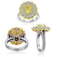 18k 2-tone Gold Diamond Ring (ydrd 0.64ct, Pink 0.20ct, Rd 1.73ct, Fyov 2.00ct)