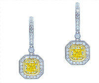1.82 cttw Radiant Cut Diamond Dangle Earrings In 18k White Gold