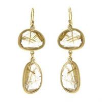 Herco 14k Yellow Gold Rutile Quartz Earrings