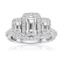 2.36 Ctw Emerald Cut Halo Three Stone Diamond Engagement Ring