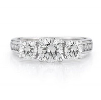 1.00 Ct Three Stone Ring With Channel Set Diamonds 14w