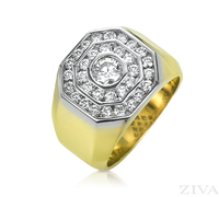 Ziva Large Men's Ring with Diamond Center