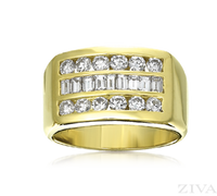 Ziva Men's Ring with Baguette & Round Diamonds