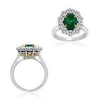 4.40 Ct Emerald & Diamond Ring (rd 2.15ct, Em 2.25ct)