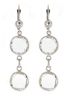 Herco 14k WG Crystal Quartz Earrings