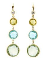 Herco 14k Yellow Gold Topaz & Amethyst Earrings